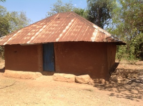 A typical hut where a widow lives with, on average, 4 children.