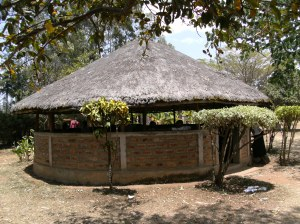 A cool hut where we meet the Community Health Workers